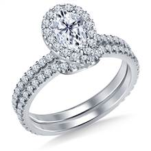 Pear Halo Engagement Ring with Matching Band in 18K White Gold | B2C Jewels