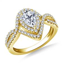 Pear Shape Double Halo Diamond Engagement Ring with Twisted Split Shank in 18K Yellow Gold   B2C Jewels