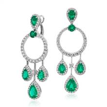Pear Shape Emerald and Diamond Drop Earrings in 18k White Gold (4.41 ct. tw.) | Blue Nile