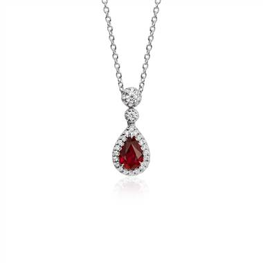 Pear Shape Ruby and Diamond Halo Drop Pendant in 18k White Gold (6x4mm)