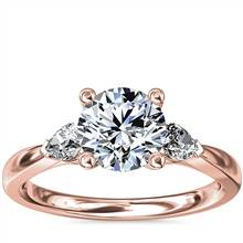 Pear Sidestone Diamond Engagement Ring in 18k Rose Gold (1/4 ct. tw.)   Blue Nile