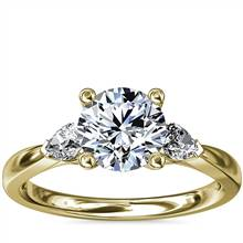 Pear Sidestone Diamond Engagement Ring in 18k Yellow Gold (1/4 ct. tw.) | Blue Nile
