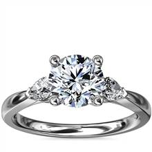 Pear Sidestone Diamond Engagement Ring in Platinum (1/4 ct. tw.) | Blue Nile