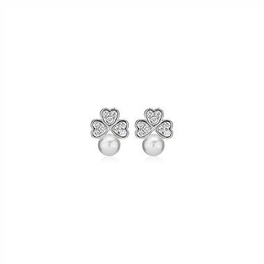 Pearl and Diamond Triple Heart Cluster Earrings in 14k White Gold