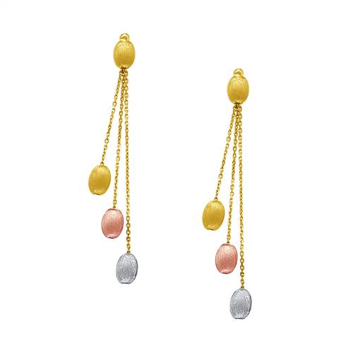 Pebbles Multi Drop Dangle Earrings in 14K Tri Color Gold