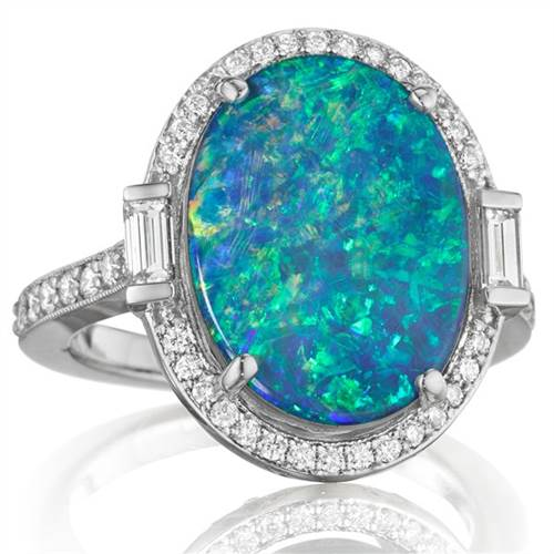 "Penny Preville R4677WDOP Ladies ""Opal Collection"" Oval RIng with Pave Trim"
