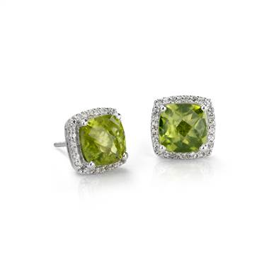 Peridot Halo Stud Earrings in Sterling Silver (8x8mm)
