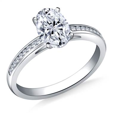 Petite Channel Set Round Diamond Engagement Ring in 18K White Gold (1/5 cttw)