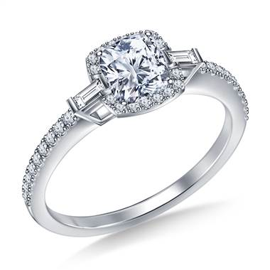 Petite Cushion Halo Side Fancy Cut Diamond Engagement Ring In Platinum
