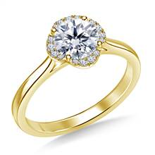 Petite Diamond Floral Halo Prong Set Engagement Ring in 14K Yellow Gold | B2C Jewels