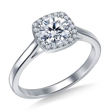 Petite Diamond Halo Cathedral Engagement Ring in Platinum