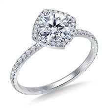 Petite Diamond Halo Engagement Ring in 14K White Gold | B2C Jewels