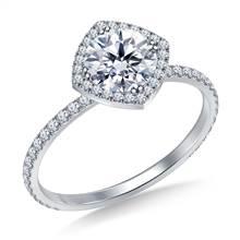 Petite Diamond Halo Engagement Ring in 18K White Gold | B2C Jewels