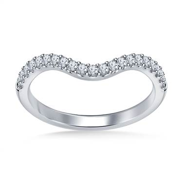 Petite Diamond Wedding Band Curved Scalloped Design in 18K White Gold (1/4 cttw.)