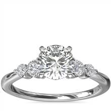 Petite Double Sidestone Diamond Engagement Ring in 14k White Gold (1/6 ct. tw.)   Blue Nile