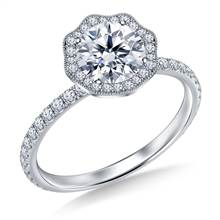 Petite Floral Diamond Halo Engagement Ring in 18K White Gold | B2C Jewels