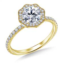 Petite Floral Diamond Halo Engagement Ring in 18K Yellow Gold | B2C Jewels