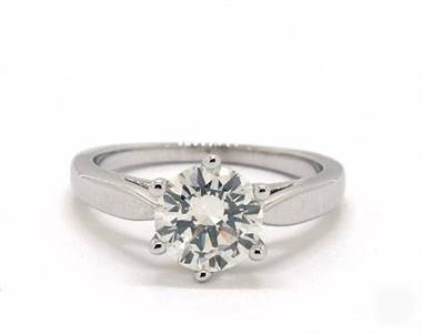Petite Flower-Basket Silhouette Solitaire Engagement Ring in 1.8mm Platinum (Setting Price)
