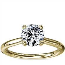 Petite Hidden Halo Solitaire Plus Diamond Engagement Ring in 14k Yellow Gold | Blue Nile