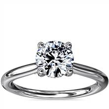 Petite Hidden Halo Solitaire Plus Diamond Engagement Ring in 18k White Gold | Blue Nile
