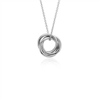 """Petite Infinity Rings Pendant in 14k White Gold"""