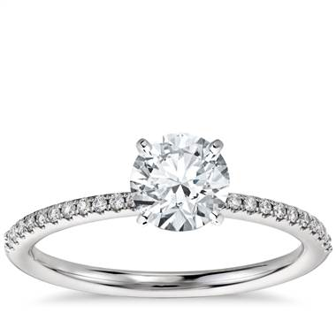 Petite Micropave Diamond Engagement Ring in 14k White Gold (1/10 ct. tw.)