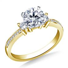 Petite Prong & Pave Set Round Diamond Engagement Ring in 14K Yellow Gold (1/5 cttw.) | B2C Jewels