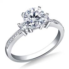 Petite Prong & Pave Set Round Diamond Engagement Ring in 18K White Gold(1/5 cttw.) | B2C Jewels