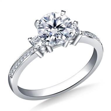 Petite Prong & Pave Set Round Diamond Engagement Ring in 18K White Gold(1/5 cttw.)