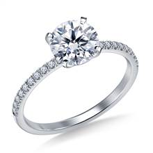 Petite Prong Set Diamond Engagement Ring in 18K White Gold (1/8 cttw.) | B2C Jewels