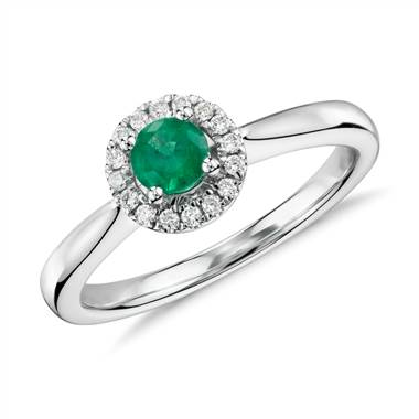 Petite Round Emerald and Diamond Pave Halo Ring in 14k White Gold (4mm)