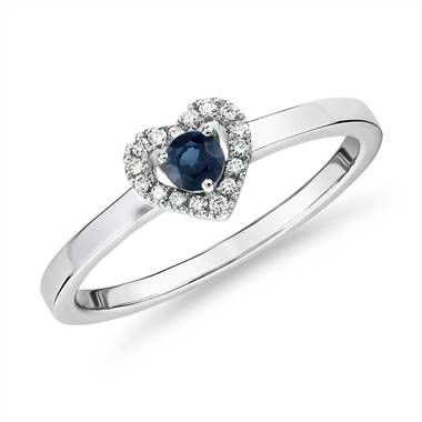 """Petite Sapphire and Diamond Pave Heart Ring in 14k White Gold (3mm)"""