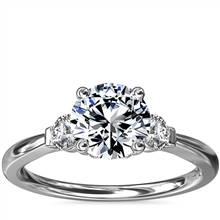 Petite Three-Stone Diamond Engagement Ring in Platinum   Blue Nile