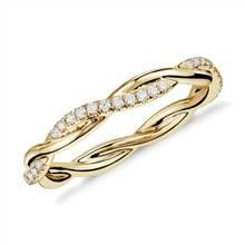 """Petite Twist Diamond Eternity Ring in 14k Yellow Gold (1/5 ct. tw.)"" | Blue Nile"