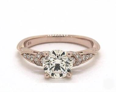 Pinched-Shank Pave Curled Undergallery Engagement Ring in 14K Rose Gold 2.3mm Width Band (Setting Price)