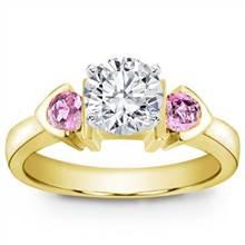 Pink Sapphire Accented, Bezel Set Setting | Adiamor