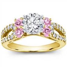 Pink Sapphire and Pave Engagement Setting   Adiamor