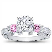 Pink Sapphire, Baguette, and Pave Setting | Adiamor