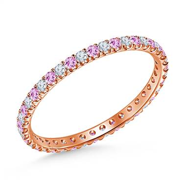 Pink Sapphire Gemstone and Diamond Comfort Fit Eternity Band in 14K Rose Gold