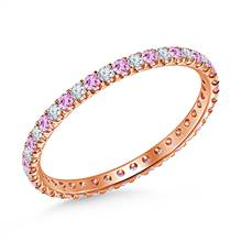 Pink Sapphire Gemstone and Diamond Comfort Fit Eternity Band in 14K Rose Gold | B2C Jewels