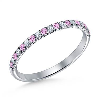 Pink Sapphire Gemstone and Diamond Comfort Fit Half Eternity Band in 14K White Gold