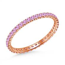 Pink Sapphire Gemstone Comfort Fit Eternity Band in 14K Rose Gold | B2C Jewels