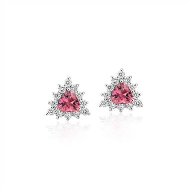 """Pink Tourmaline Trillion Earrings with Diamond Halo in 14k White Gold (5mm)"""