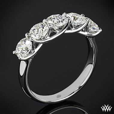 Platinum 5 Stone Trellis Diamond Right Hand Ring - Setting Only