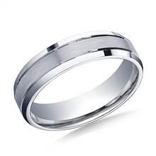 Platinum 6mm Comfort-Fit Satin-Finished High Polished Beveled Edge Carved Design Band | B2C Jewels