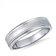 Platinum 6mm Comfort-Fit Satin-Finished with Milgrain Round Edge Carved Design Band   B2C Jewels