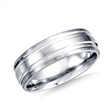 Platinum 6mm Comfort-Fit Satin-Finished with Parallel Grooves Carved Design Band | B2C Jewels