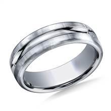 Platinum 7.5mm Comfort-Fit Satin-Finished High Polished Center Cut Carved Design Band | B2C Jewels