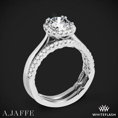 Platinum A. Jaffe ME2053Q Halo Diamond Wedding Set