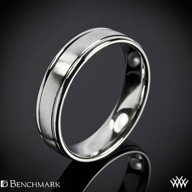 "Platinum Benchmark 6mm ""Comfort Fit"" Wedding Ring with Spin Satin Finish"